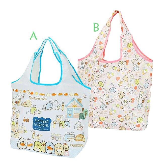 折疊尼龍環保購物袋 SAN-X 角落生物 藍色 粉色 2款 環保袋 側背袋 日本進口正版授權