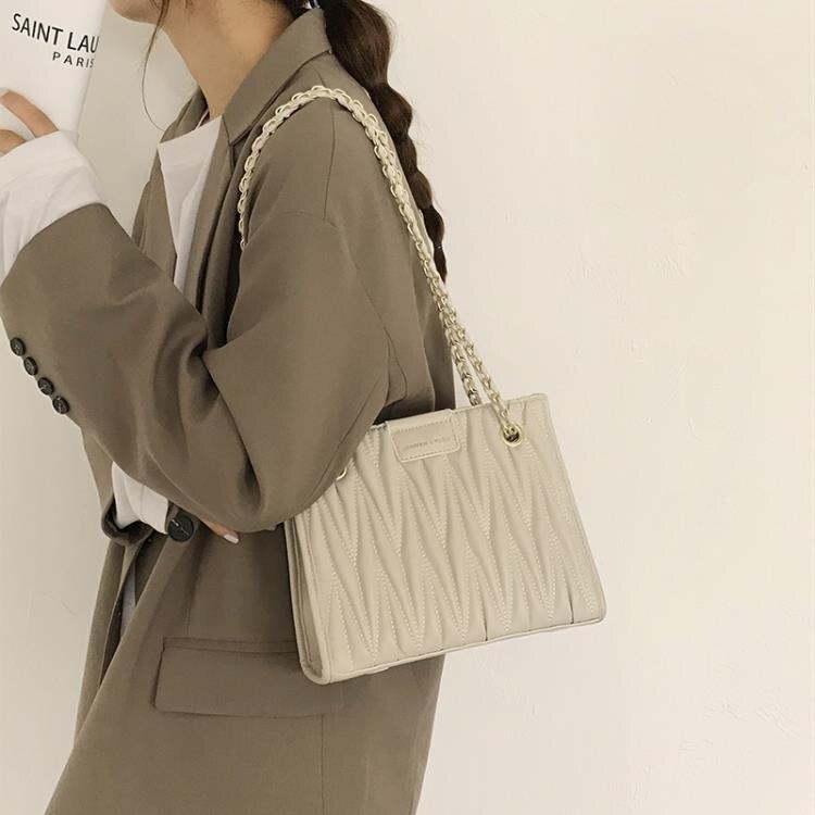 大容量包包女2020新款潮網紅韓版菱格鏈條包高級感包包百搭托特包