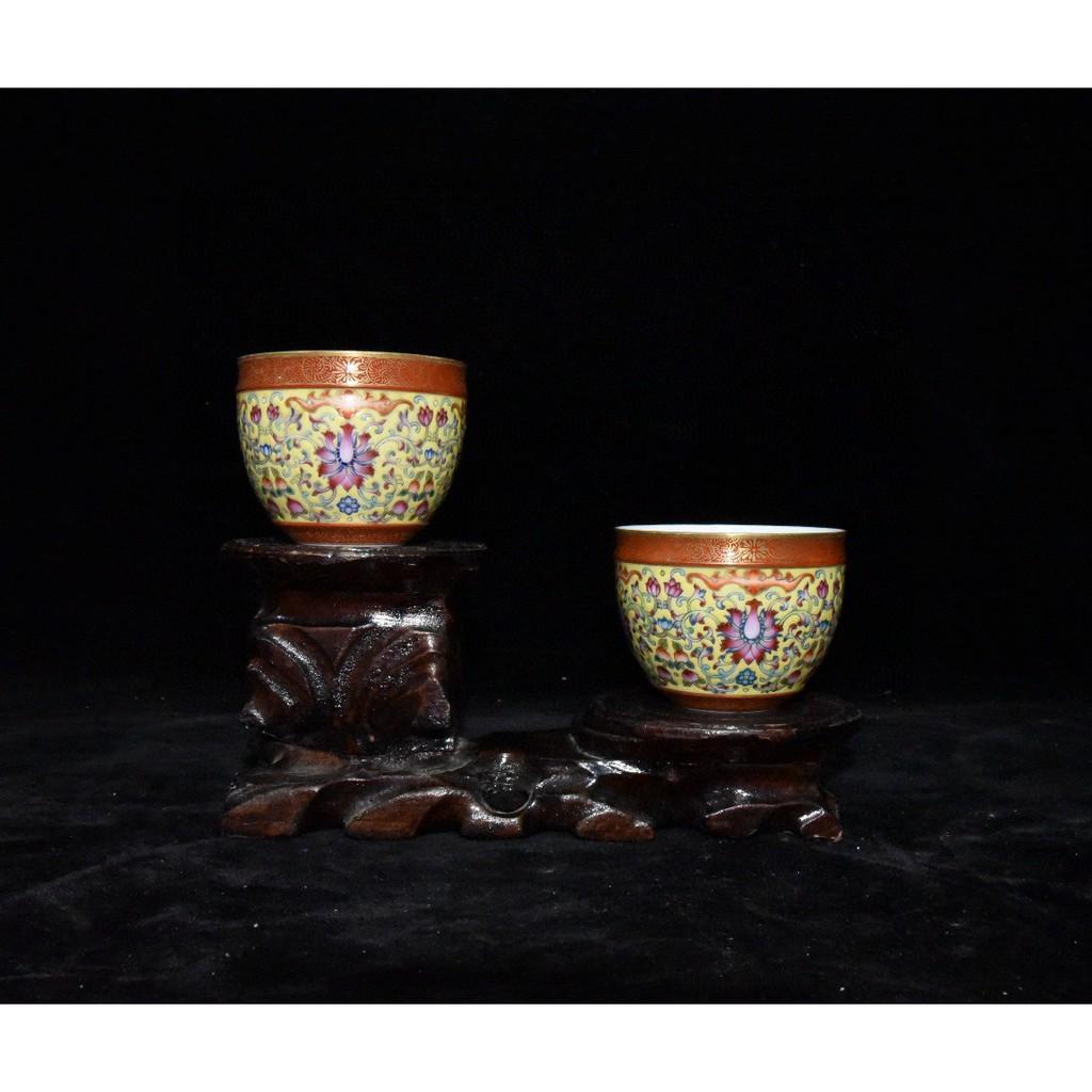 清乾隆款珐琅彩描金缠枝花花卉纹缸杯握杯尺寸6x7.5厘米古玩古董艺术品收藏清代老瓷器纪念品茶室茶具茶杯摆件