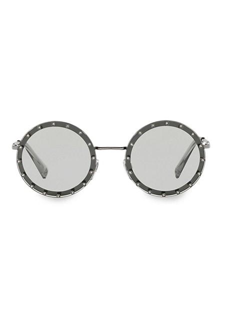 52MM Crystal-Trim Round Sunglasses