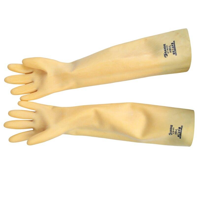 三蝶耐酸堿乳膠手套 加厚加長工業橡膠防滑耐磨防水化工防護手套