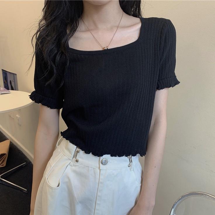短袖T恤 短版上衣 針織衫 方領 寬鬆 顯瘦 素色 直筒 荷葉邊 顯瘦 韓版 新款 女生 上衣