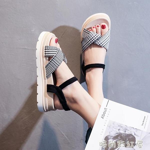 涼鞋女仙女風2021年夏季新款超火歐洲站厚底運動鬆糕一字扣帶女鞋「時尚彩紅屋」