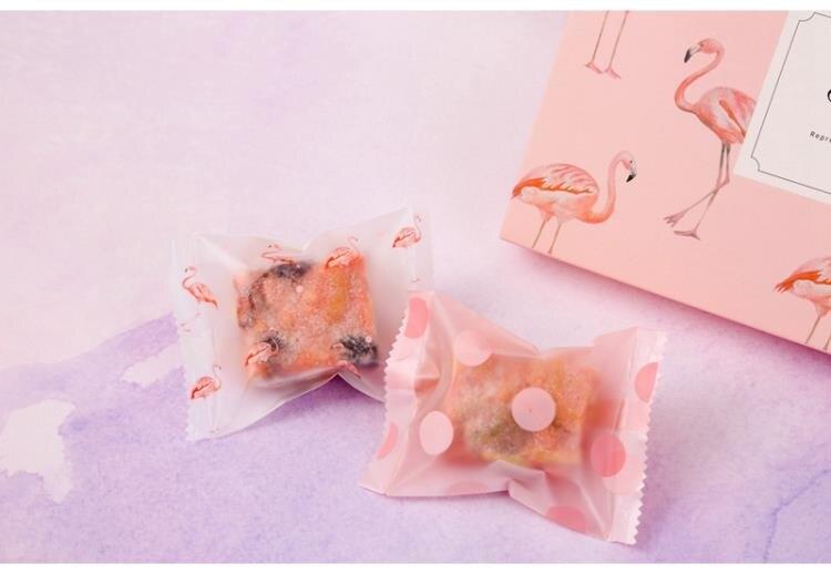 自封袋包裝袋 火烈鳥雪花酥包裝袋牛扎餅干牛扎餅蔓越莓的紙牛軋袋子手工機封袋-快速出貨