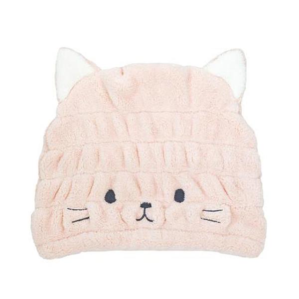 日本CB Japan 動物造型超細纖維浴帽-小貓粉