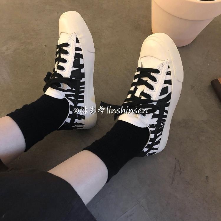 港風斑馬紋低幫帆布鞋女學生ulzzang平底原宿百搭休閒板鞋