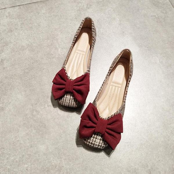 夏秋平底方頭單鞋女淺口甜美仙女風大蝴蝶結奶奶鞋軟底上班蛋卷鞋 伊蘿