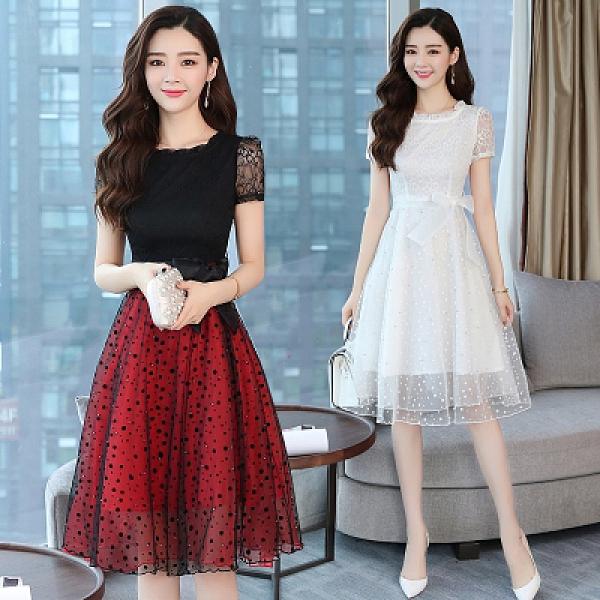 洋裝 9659# 時尚長裙夏裝新款中長款a字裙韓版收腰雪紡蕾絲連身裙H325.1號公館