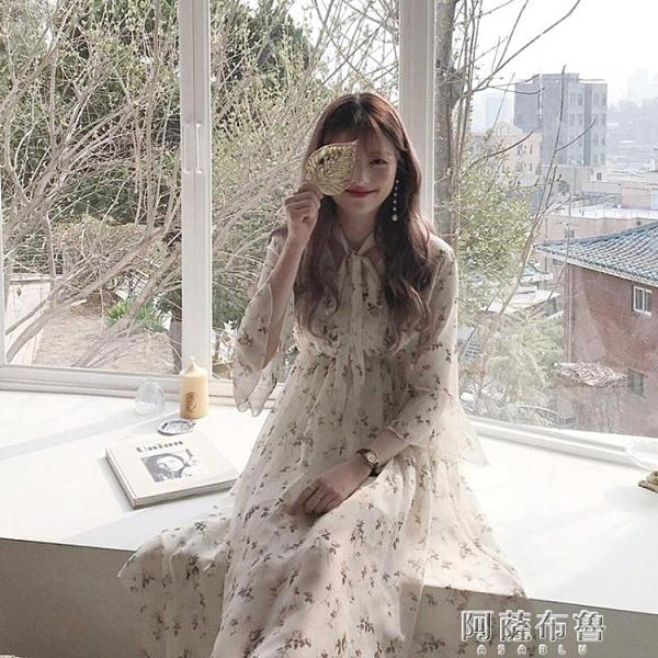 雪紡洋裝 溫柔風少女初戀裙春夏新款韓國V領喇叭袖碎花雪紡連身裙長裙 阿薩布魯