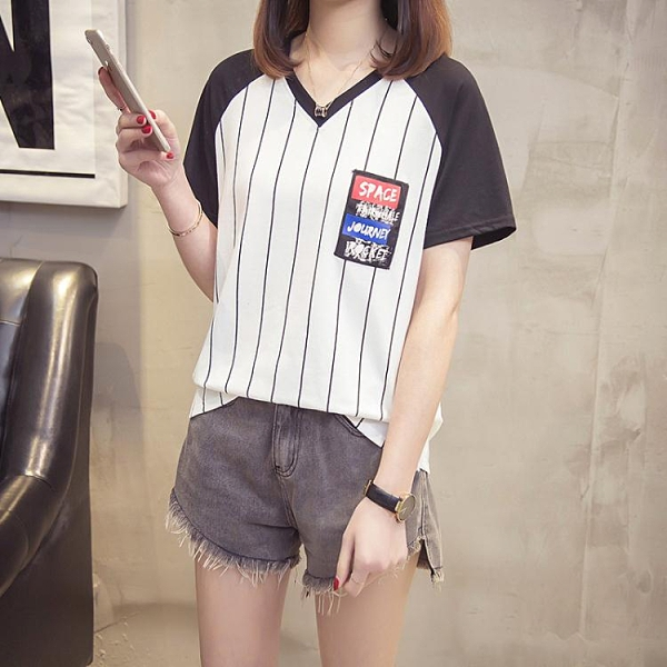 XL-4XL胖妹妹短袖T恤~韓版夏款加肥加大碼女裝微胖妹妹插肩長袖T恤衫寬松上衣減齡2F060A愛尚布衣