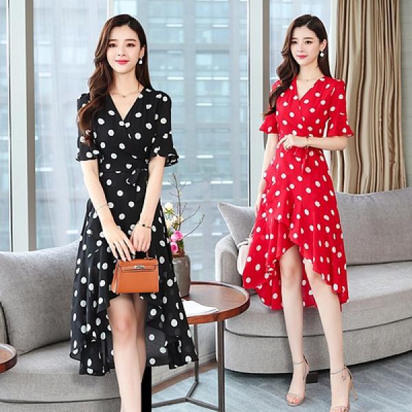 中大碼洋裝 9913#夏新款法式不規則小眾氣質顯瘦大擺裙網紅復古波點連衣H325.1號公館