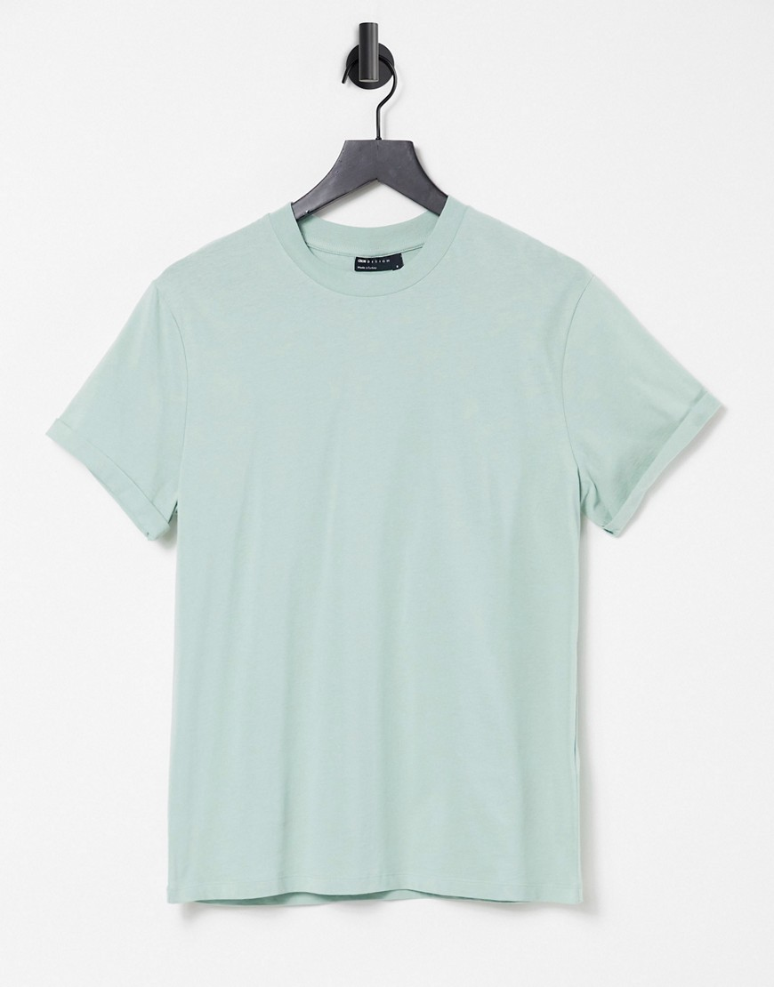 ASOS DESIGN t-shirt with roll sleeve in green