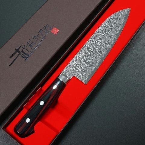 【日本進口菜刀】 義實 三德 VG10黑染大馬士革 口金付赤黑合板柄 175mm KA304