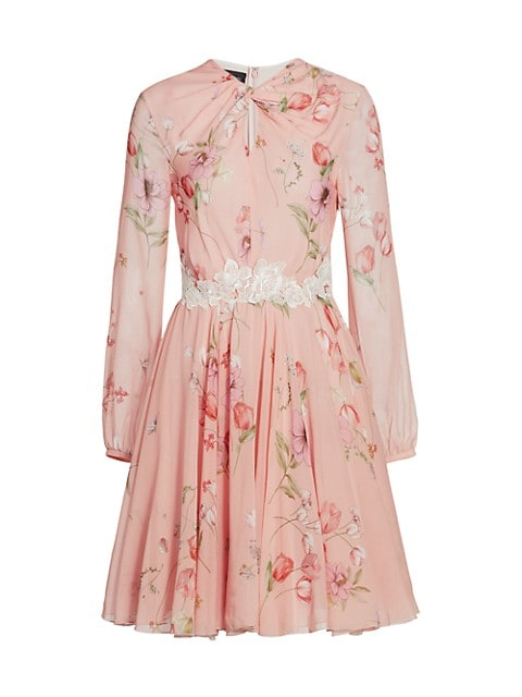 Floral Keyhole Long Sleeve Silk Dress