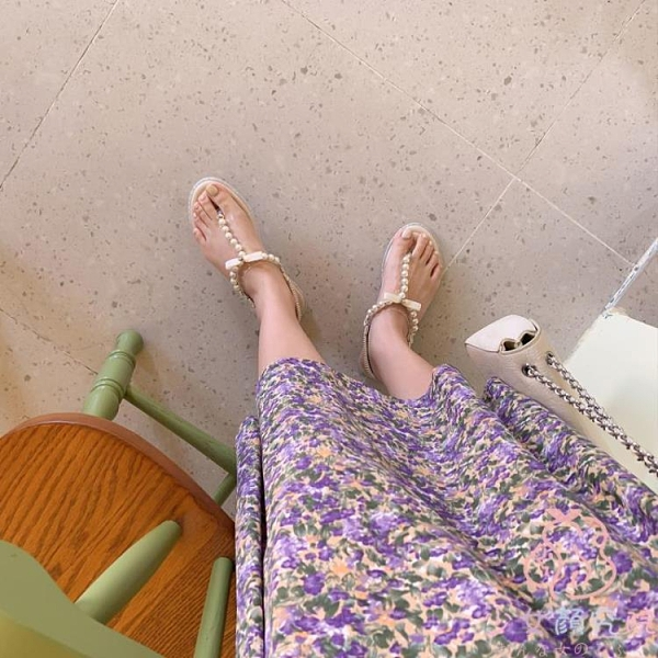夾趾涼鞋女平底鞋學生百搭舒適夏季【少女顏究院】