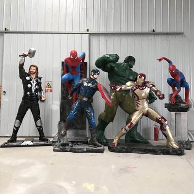 玻璃鋼複聯仇者聯盟太空人綠巨人鋼鐵蜘蛛人模型漫威雕塑美陳擺件