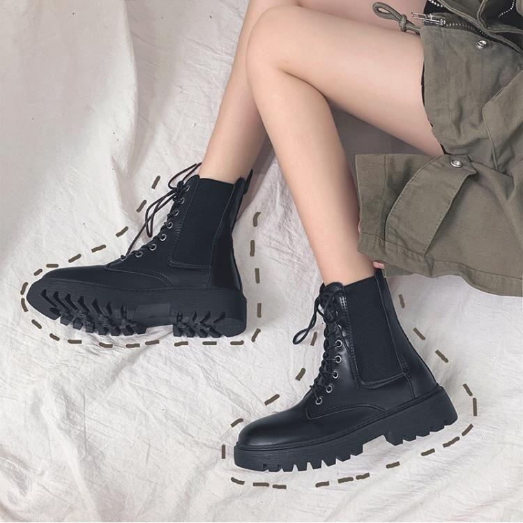 顯腳小馬丁靴女潮ins年新款秋季冬加絨英倫風網紅瘦瘦短靴子 -盛行華爾街