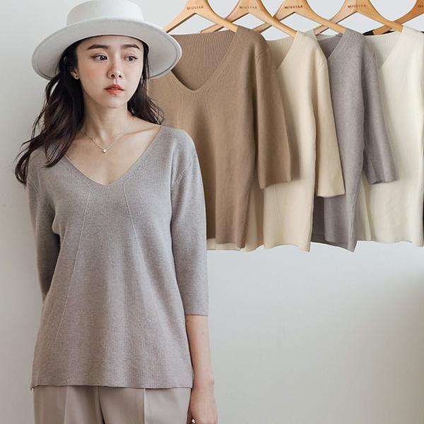 現貨-MIUSTAR Y字織紋V領短袖包芯紗針織上衣(共5色)【NJ0178】