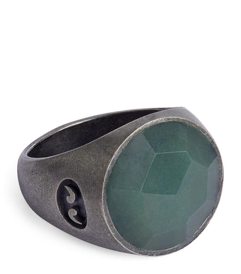 Marco Dal Maso Silver And Aventurine Moneta Pinky Ring
