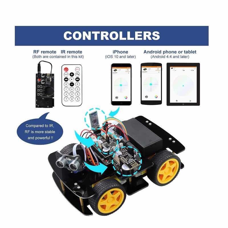 Freenove 4WD 遙控車 附RF遙控器 (與Arduino IDE兼容) IR無線遙控 線路跟踪 避障 [2美國直購]