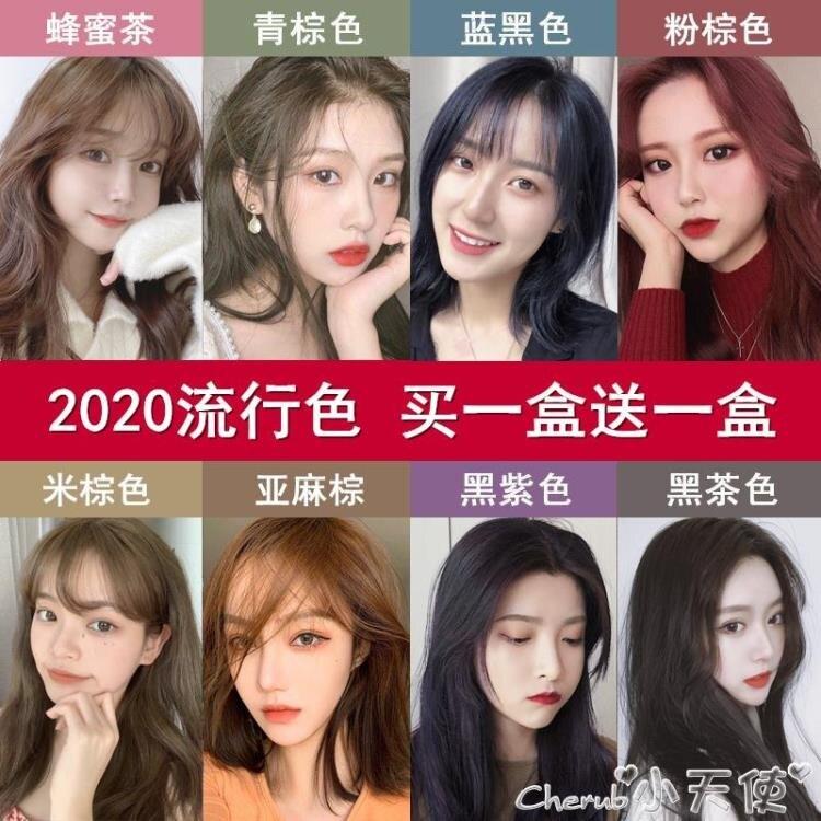 染髮劑藍黑色染髮劑2021新款流行色自己在家染髮膏黑茶色泡泡沫純女植物