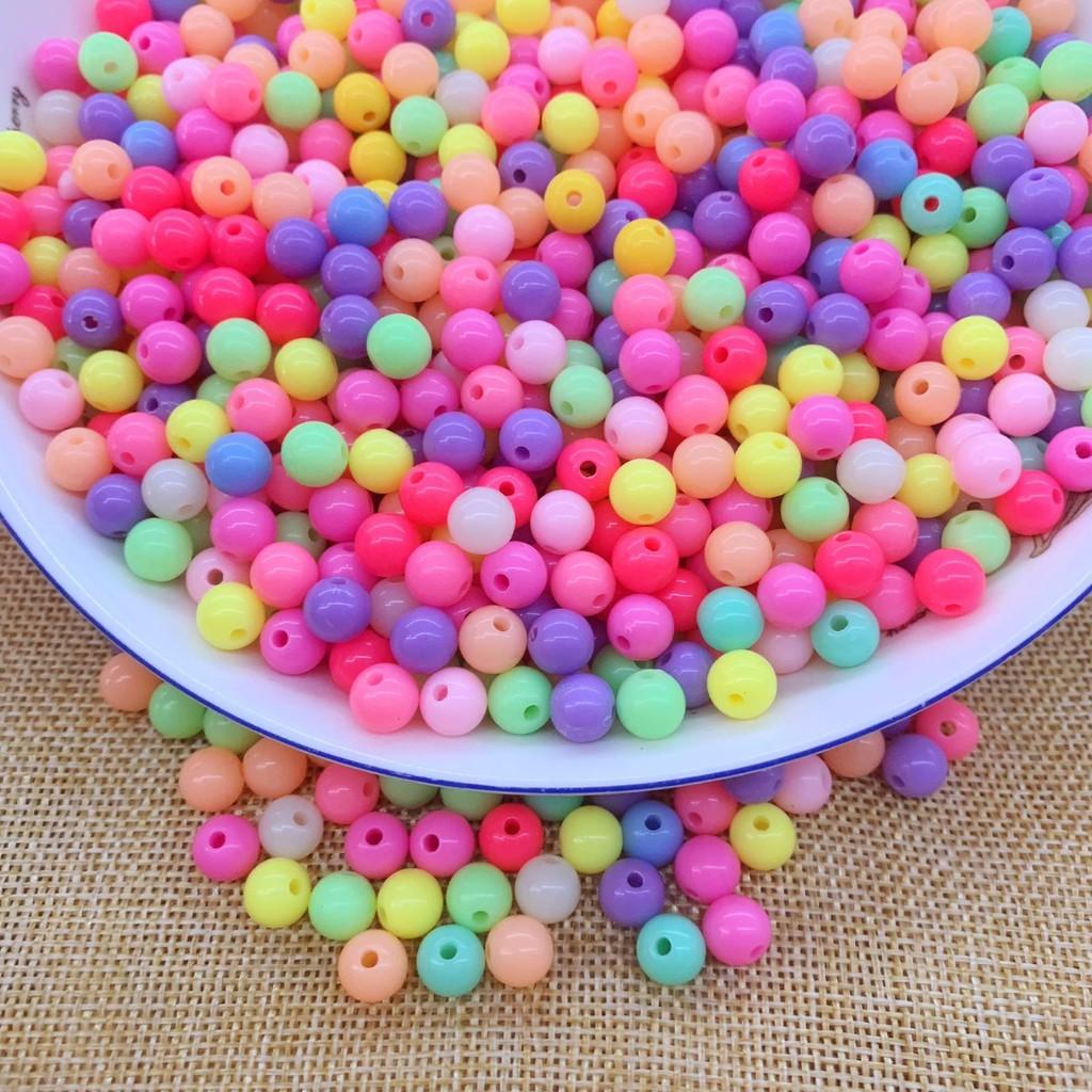 DIY手工串珠配件材料批發6mm亞克力實色散珠圓珠糖果色彩色珠子斤