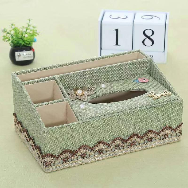 多功能布藝紙巾盒家用抽紙盒客廳桌面收納盒歐式茶幾遙控器收納盒