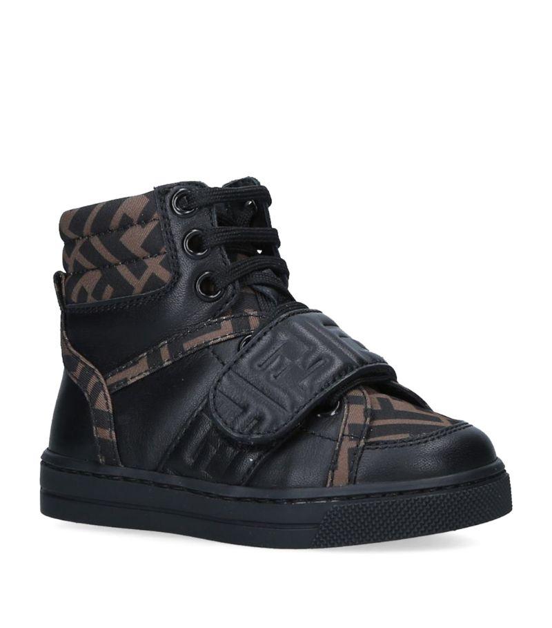 Fendi Kids Leather High-Top Sneakers