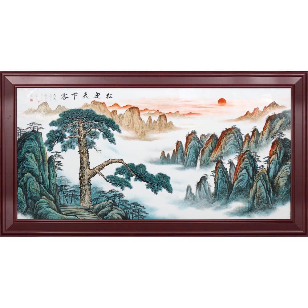 【唐門瓷器】景德鎮陶瓷板畫名家新彩松迎天下 中式客廳沙發背景墻裝飾畫壁畫