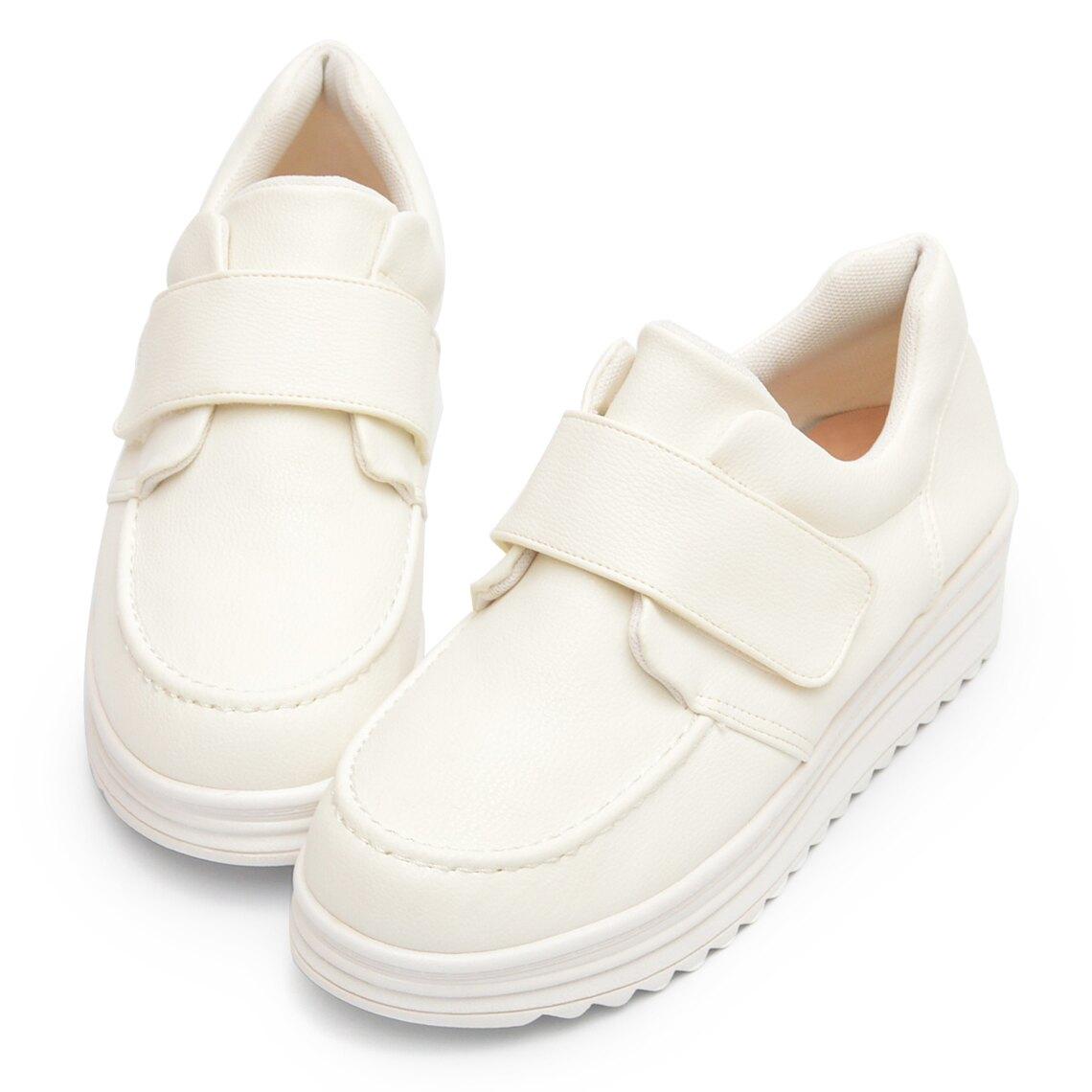厚底鞋 魔鬼氈荔枝紋皮革小白鞋-白
