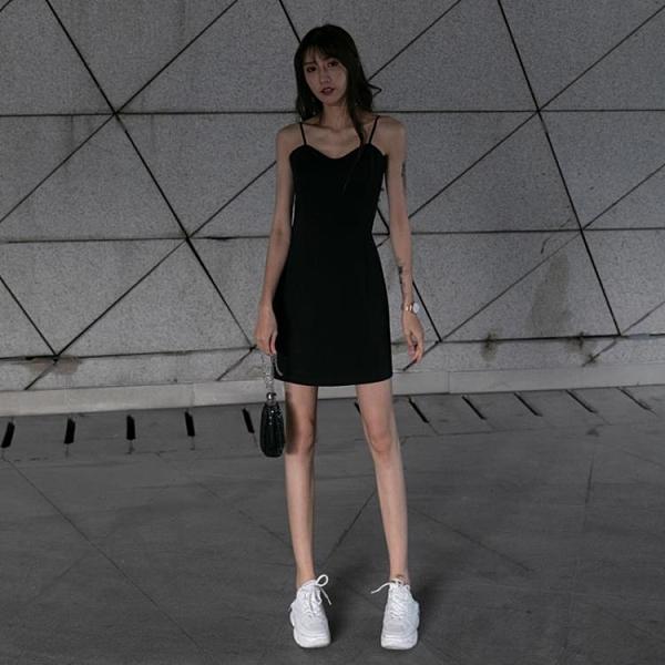 禮服吊帶洋裝女春裝內搭2021新款氣質收腰禮服黑色打底赫本小黑裙夏 滿天星