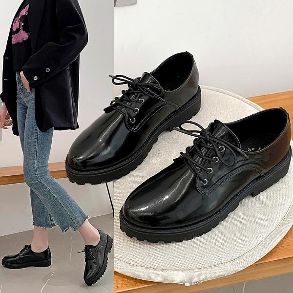 小皮鞋.MIT英倫牛津繫帶皮革厚底休閒尖頭包鞋.白鳥麗子