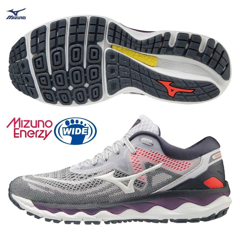 【滿額最高折318】MIZUNO WAVE SKY 4 女鞋 慢跑 3E寬楦 XPOP 輕量 ENERZY 回彈 灰紫【運動世界】J1GD201242