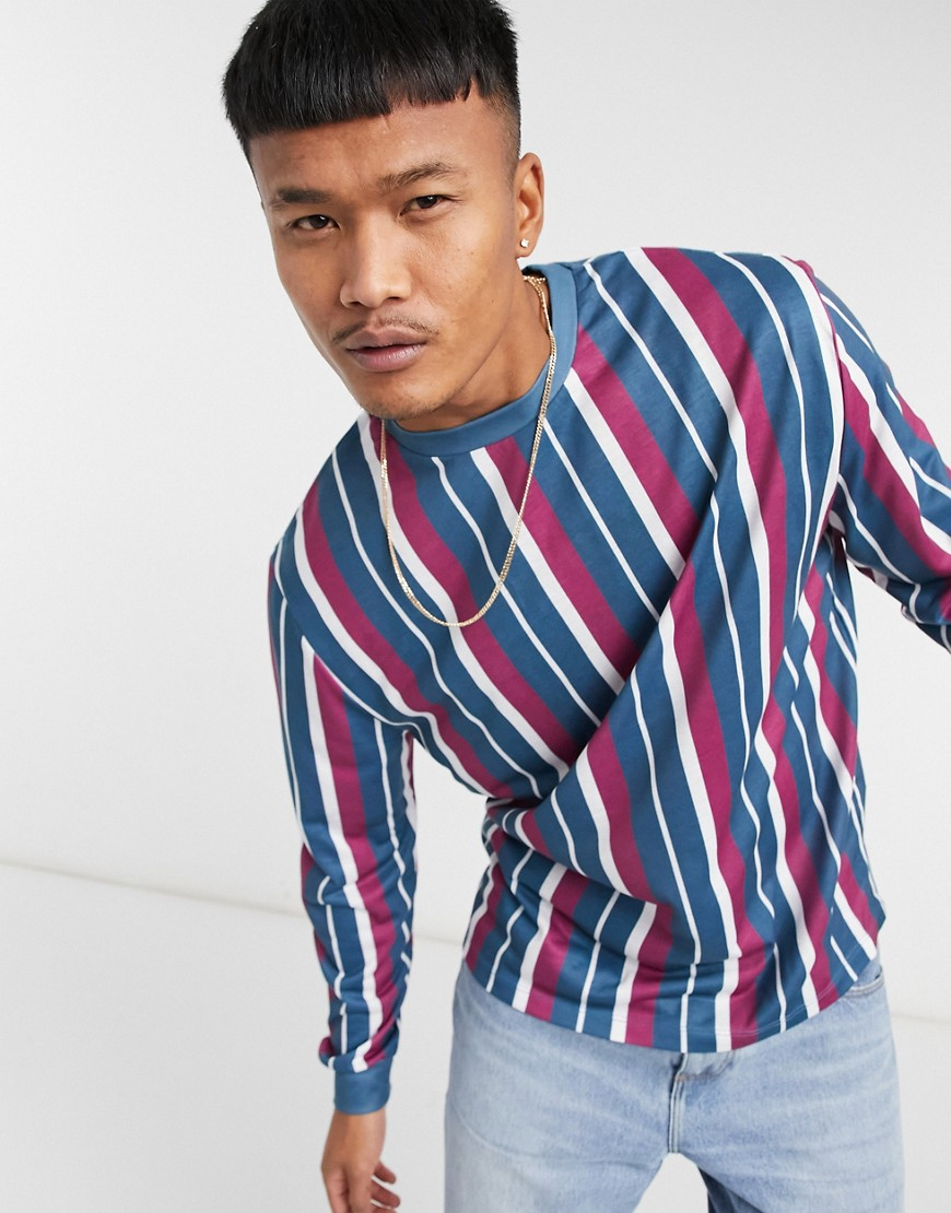 ASOS DESIGN relaxed long sleeve stripe t-shirt in burgundy & navy
