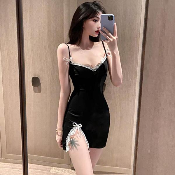 洋裝 新款韓版百搭修身顯瘦吊帶連衣裙女性感開叉內搭打底包臀裙潮【牛年大吉】