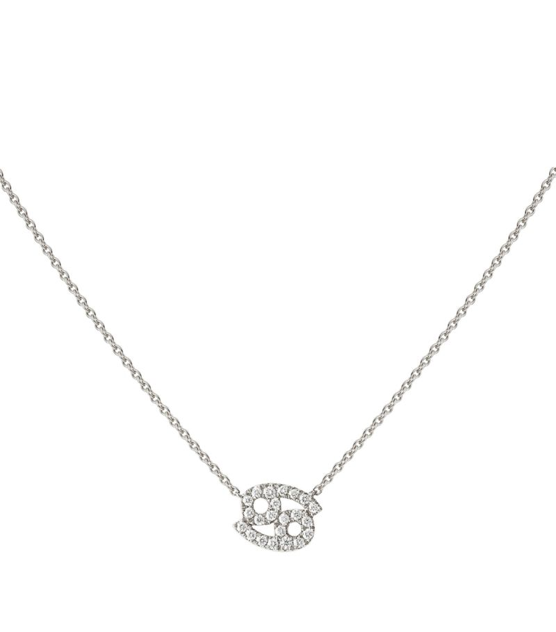 Engelbert White Gold And Diamond Zodiac Cancer Necklace