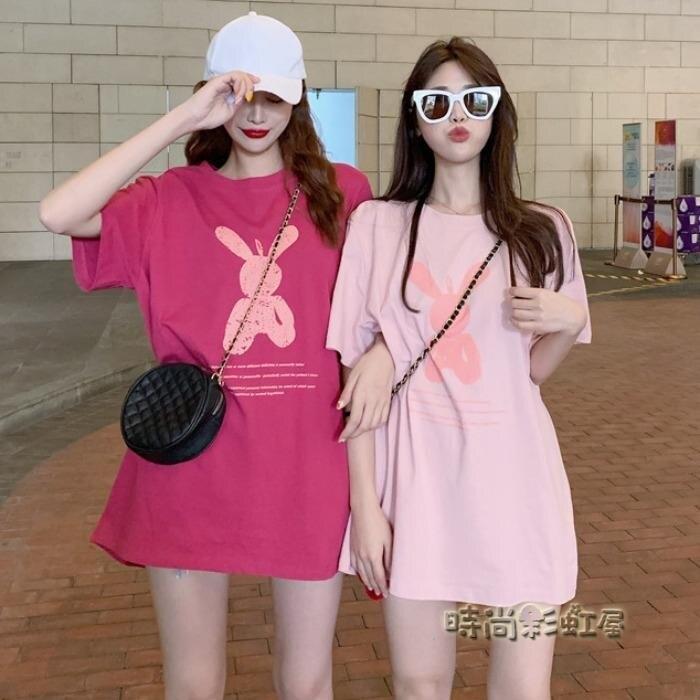 夏季t恤女小眾設計感韓版下衣失蹤洋氣中長款寬鬆短袖chic港味潮