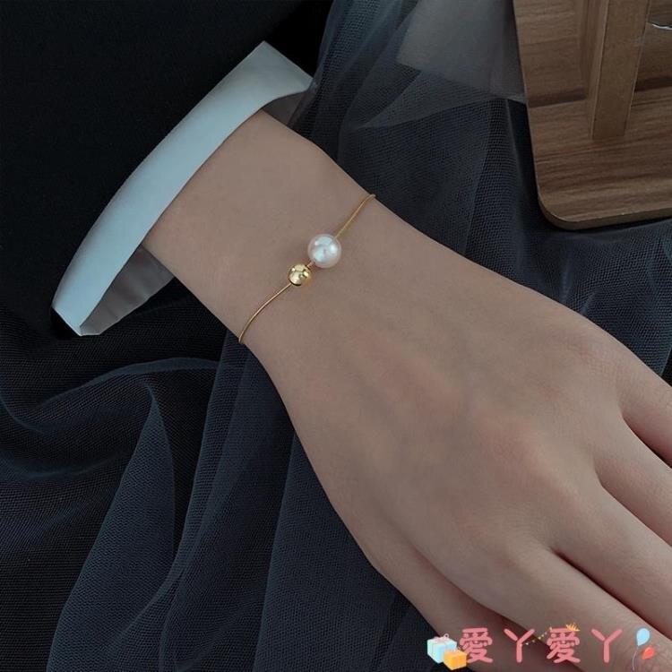 手鍊 銀奧925純銀雙珠手鍊女2021年新款珍珠母貝手環小眾冷淡風手飾