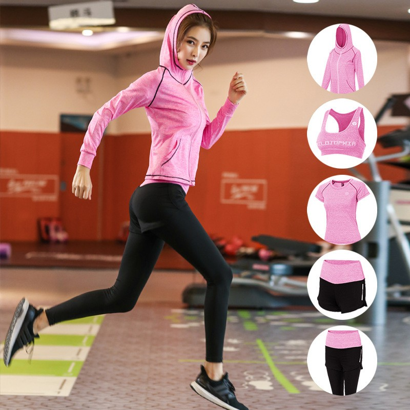 [現貨] 機能運動套裝2019瑜伽服女大碼速干健身服五件套戶外運動連帽外套套裝