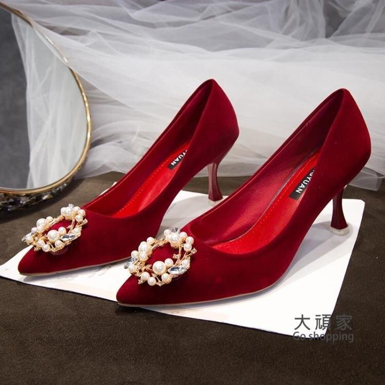 細跟高跟鞋 冬季婚鞋紅秀禾鞋女2021年新款中式婚禮新娘鞋加絨高跟鞋結婚細跟 交換禮物【全館免運 限時下殺】