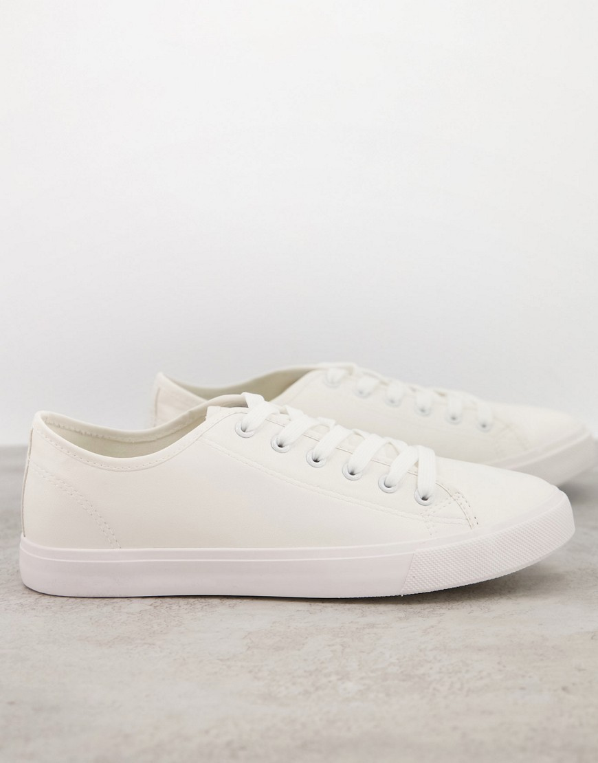 French Connection faux leather lace up plimsolls in white