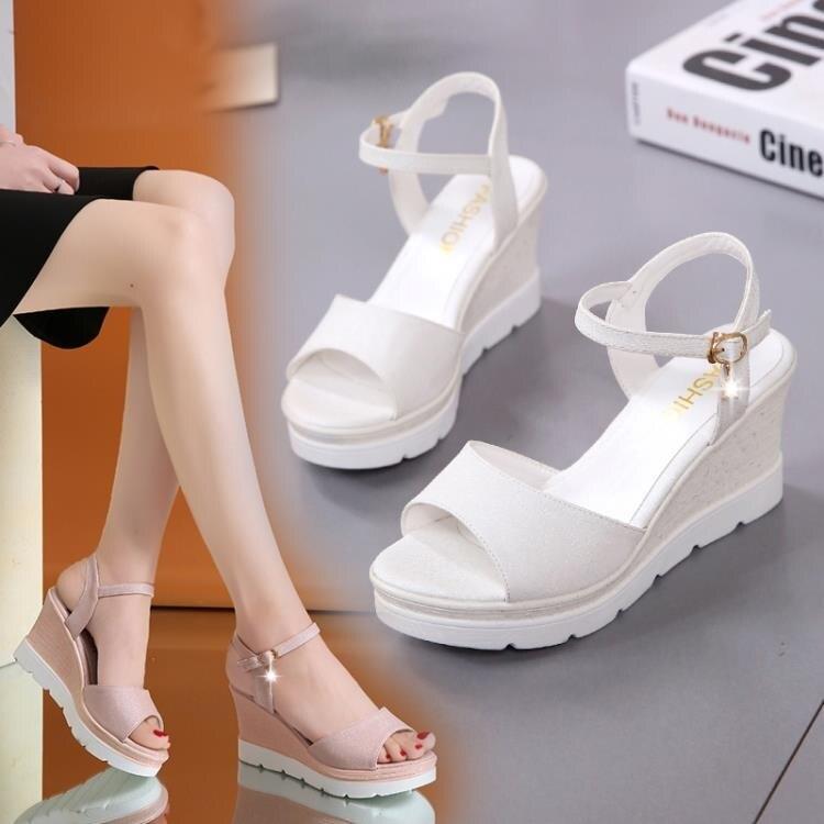 涼鞋女學生夏新款ins潮仙女風百搭舒適坡跟一字帶厚底鬆糕鞋 -盛行華爾街