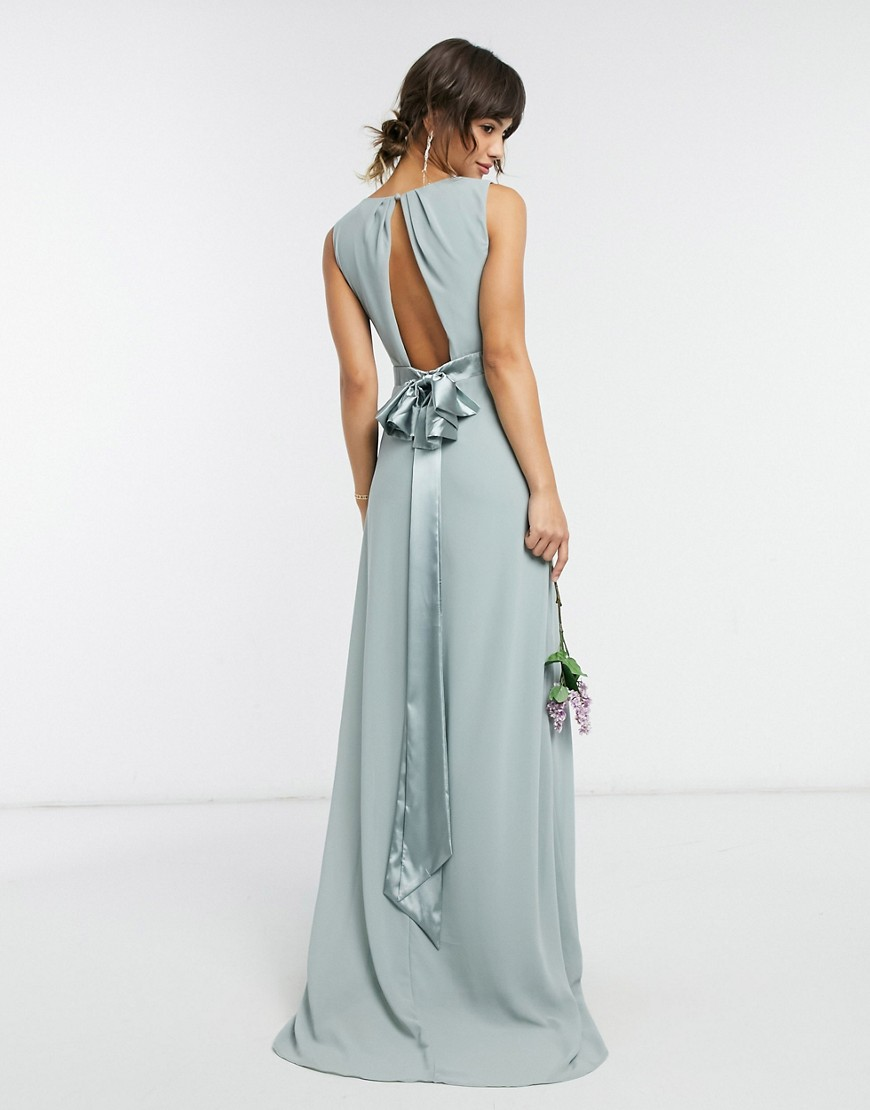 TFNC bridesmaid plunge front bow back maxi dress in sage-Green