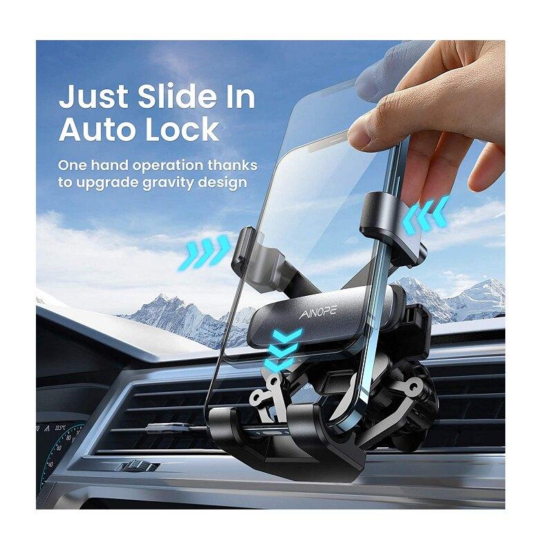 AINOPE 車用電話支架 Gravity Phone Holder for Car Vent  兼容4~7吋手機 [2美國直購]
