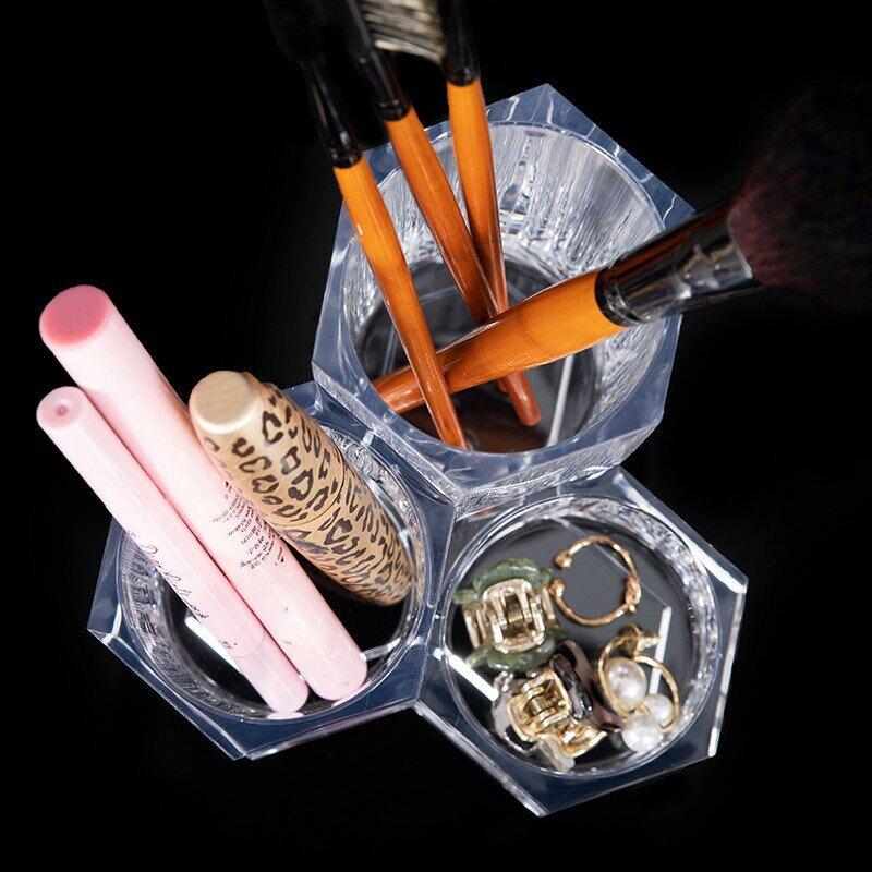 『現貨499免運』刷具收納筒 筆筒 透明筆筒 透明收納筒 桌面收納筒 透明化妝品收納盒眉筆刷具收納桶桌面收納盒 刷具收納