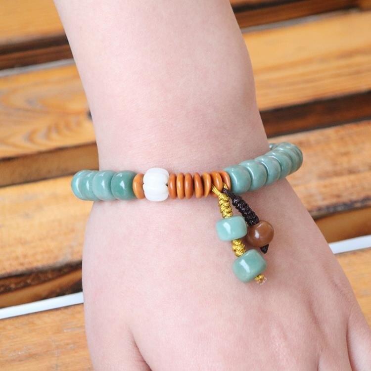 佛珠手串 原創天然綠菩提根手串男 陰皮菩提子桶珠復古單圈手鍊女佛珠飾品 限時折扣