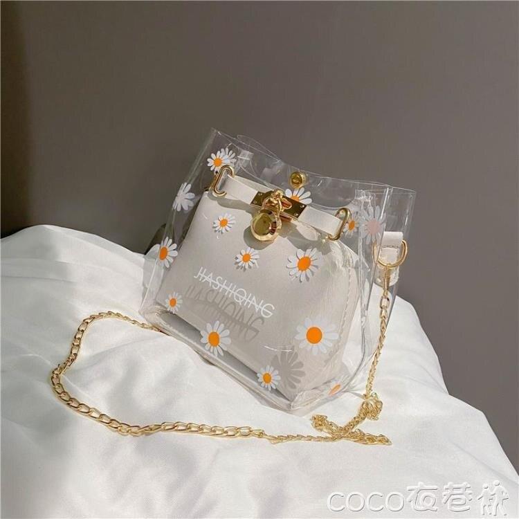 果凍包夏天透明包包新款潮時尚側背斜背包女百搭花朵錬條果凍包[優品生活館]