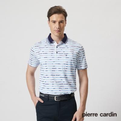 Pierre Cardin皮爾卡登 男裝  彈力嫘縈棉質混紡印花短袖polo衫-藍色(5187284-33)