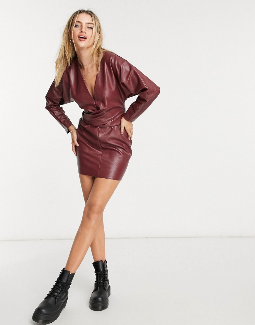 ASOS DESIGN Batwing PU mini dress with wrap waist in red
