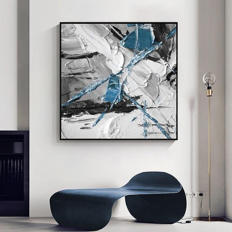 代簡約抽象油畫風格裝飾畫客廳沙發背景牆正方形掛畫63*63